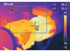 Infrared image of motor and gearbox at Heathrow airport's baggage handling system