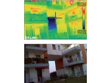 This thermal image clearly shows heat leaking from the building