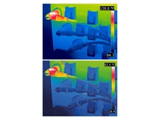 Thermal image without MSX (Top); Thermal image with MSX (Bottom) where important details can be detected
