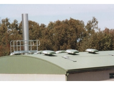 Hooded roof fans pump foul air from sewage operations