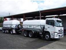Truck and dog road watering tanker as used by Rockhampton Regional Council