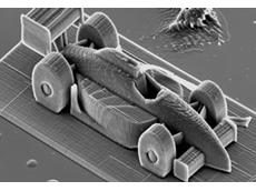 3D printing of a microscopic race car. Image: TU Vienna.