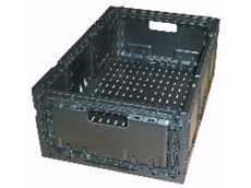 A typical returnable plastic crate.