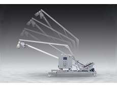 Sanitary mobile flexible screw conveyor from Flexicon tilts down for easy cleaning, and manoeuvring through tight spots.