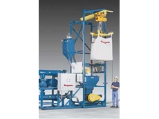 Flexicon bulk bag discharger with integral pneumatic conveying system transfers material from bulk bags into bulk storage vessels at locations unable to receive the material by rail or bulk truck