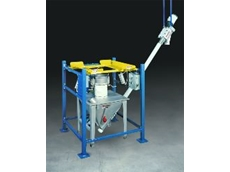Half Frame Low Cost Bulk Bag Unloader with flexible screw conveyor.