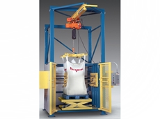Hydraulically-actuated, variable-height turntable allows automated, programmable in-frame bag rotation and conditioning of bulk bags at varying heights