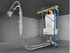 The automated bulk bag weigh batching system meters ingredients into a FLEXI-DISC tubular cable conveyor that transports batches of a specified weight to a downstream process