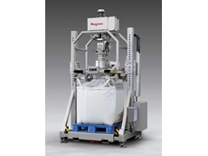 Sanitary, stainless steel TWIN-CENTREPOST bulk bag filler with metal detection