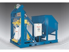 Ultra-heavy-duty, skid-mounted bulk bag filling system includes a patented Twin-Centrepost frame, flexible screw conveyor, high capacity hopper, and PLC to control automated filling functions