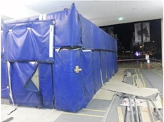 Flexshield sonic curtain panels were used to clad a temporary acoustic enclosure