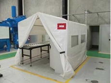 Welding tent customised to suit contamination control area