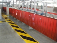 Industrial arts welding bays and grinding bays from Flexshield