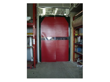 PVC swing door with coloured panels to conceal specific spaces
