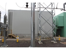 Acoustic barrier wall installed at a substation