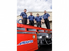 Left to right: Transport Connection General Manager David Rees with sales team members Gary Lines, Kym Penhall and Mike Bass