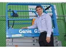 Julian Laws of Tutt Bryant Hire and one of the Genie GS-1932 Scissor Lifts
