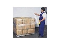 Clear pallet wrap being used in a manual pallet wrapping application