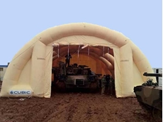 An inflatable shelter designed for Cubic Defence