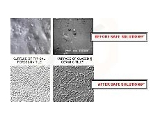 The surface of tiles before and after the use of Safe Solution.