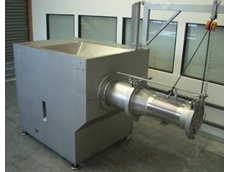 A high capacity Gold Peg cheese grinder with 2.8mm output