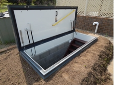 A Gorter fire rated roof access hatch has been used in a bushfire escape bunker in Lower Inman Valley S.A.