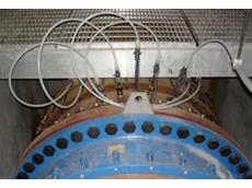 A Westfall model 2800 static mixer in-line at Sebago Lake water treatment facility