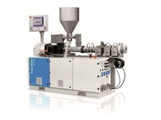 The twin screw extruder is designed for use with all commercially available PVC mixtures