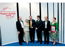 Presentation of the Tom Burns Award to Heat and Control. Left to right: Russell Lynagh, Angela Burns, Jim Strang, Ben Evans, Ricky Ong, Amber Crowley