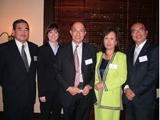 Left to right - Mr Makoto Hinei (Consul General of Japan), Ms Simone Pregellio (Manager, Corporate Relations, Jetstar Airways), Mr Ricky Ong (Heat and Control), Mrs Ling Raines (QJCCI President) and Mr Michael Choi MP (Parliamentary Secretary for Nat