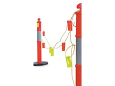 Reflectaline reflective barricading systems have fluorescent orange and yellow tags