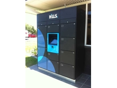The lockers are currently being trialled at Hills super centres in Hendra
