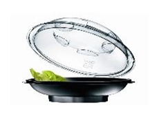 Features a crystal clear domed APET lid.