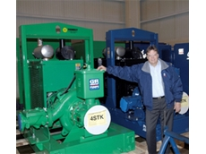Hydro Innovations General Manager, Garry Grant with a Gorman-Rupp self priming pump