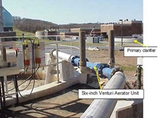 A Venturi Aerator (VA) adds the required oxygen to the effluent