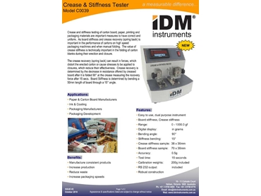 Crease and Stiffness Testers and Crease and Stiffness Cutters