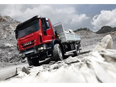 The rugged IVECO Eurocargo 4 x 4 with laden tipper tray bodywork