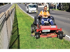 A 1.6m (62 in) zero turn mower operated by Joe Bayada of Downer EDI