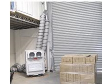 The 10kW air conditioner in operation in First Class Consulting's warehouse