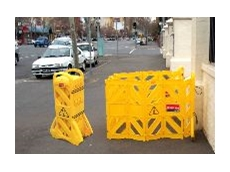 Concertina barricades make work sites safer.