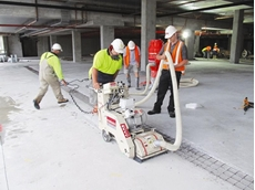 The concrete planer from Kennards Concrete Care at work in the car park