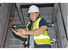 Alex Griffiths checks CO2 levels with the gas detector from Kennards Lift & Shift