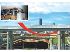 Thiess John Holland (TJH) used the hydraulic cylinders (inset) while installing bearings on a bridge over the CLEM 7 tunnel