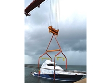 A 145 tonne spreader beam was hired from Kennards Hire Lift & Shift to lift a large 75ft Riviera motor yacht onto a container ship.