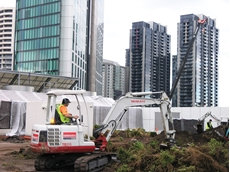 Kennard's Hire excavators used in Crown Casino landscaping project.