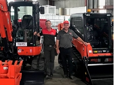 Luke Wolff and Jamie Bach at the new Kennards Hire Toowoomba branch