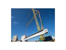The 300 tonne spreader beam was used to lift concrete girders into place (Photo Credit: Monde Photo)