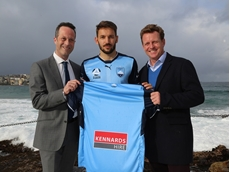 Angus Kennard (R) and Theo Triantafillides with a Sydney FC player