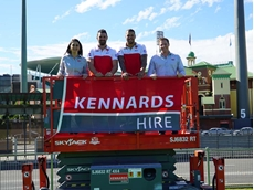 (L-R) Manelle Merhi, Heath Grundy, Lance Franklin and Cam Kennard. Photo courtesy of the Sydney Swans and Kennards Hire