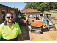Dominic Arciuli and his team with earthmovers supplied by Kennards Hire